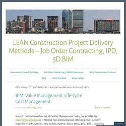Cost Engineering – BIM / High Performance Buildings – LEAN Construction Project Delivery Methods – Job Order Contracting, IPD, 5D BIM
