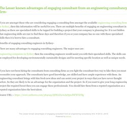 The Lesser known advantages of engaging consultant from an engineering consultancy firm-