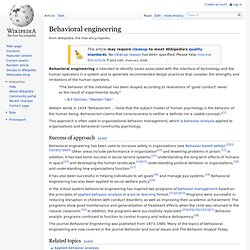 Behavioral engineering