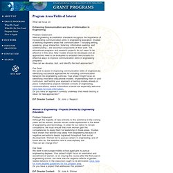 Engineering Information Foundation - Program Areas/Fields of Interest