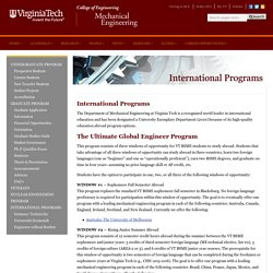 Department of Mechanical Engineering – International Programs