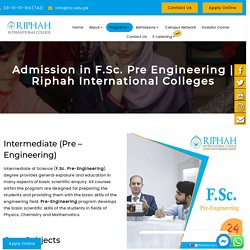Admission in F.Sc. Pre Engineering