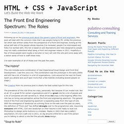 The Front End Engineering Spectrum: The Roles