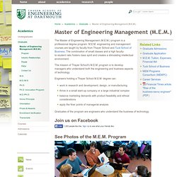 Master of Engineering Management (M.E.M.)