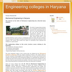 Engineering colleges in Haryana: Mechanical Engineering in Haryana