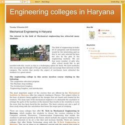 Engineering colleges in Haryana: Mechanical Engineering in Haryana