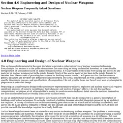 Engineering and Design of Nuclear Weapons