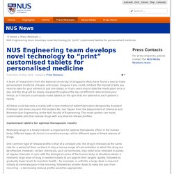"NUS Engineering team develops novel technology to ""print"" customised tablets for personalised medicine"