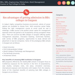 Key advantages of getting admission in BBA colleges in Gurgaon ~ BBA, MBA, Engineering, Polytechnic, Hotel Management Courses in Top Colleges in India
