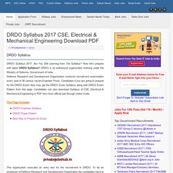 DRDO Syllabus 2017 CSE, Electrical & Mechanical Engineering Download PDF