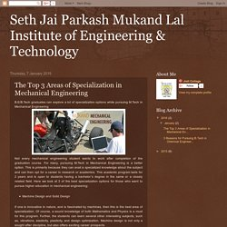 Seth Jai Parkash Mukand Lal Institute of Engineering & Technology: The Top 3 Areas of Specialization in Mechanical Engineering