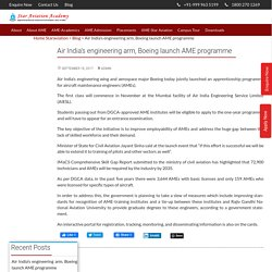 Air India's engineering arm, Boeing launch AME programme