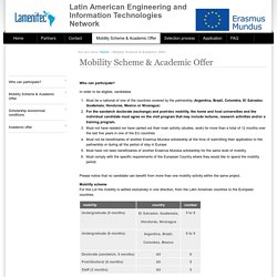 Mobility Scheme & Academic Offer — Latin American Engineering and Information Technologies Network