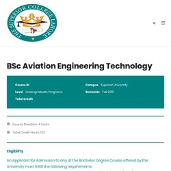 BSc Aviation Engineering Technology - Superior College Lahore