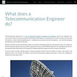 Masters in Electrical Engineering - What does a Telecommunication Engineer do?