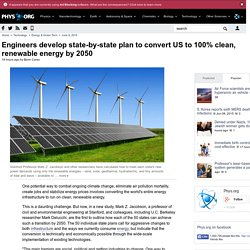 Engineers develop state-by-state plan to convert US to 100% clean, renewable energy by 2050