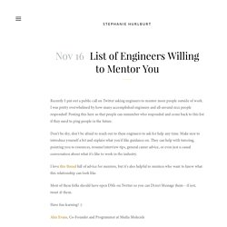 List of Engineers Willing to Mentor You — Stephanie Hurlburt