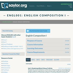ENGL001: English Composition I