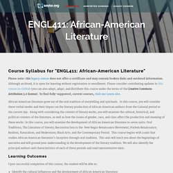 ENGL411: African-American Literature