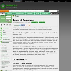 Liz England's Blog - Types of Designers