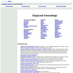 England Genealogy - over 7,000 English Geneology Links