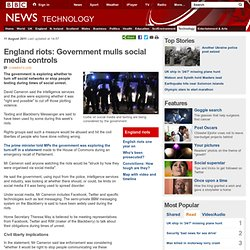 England riots: Government mulls social media controls