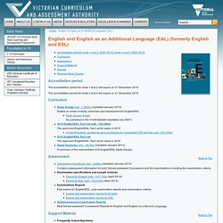 English & English as an Additional Language (EAL)