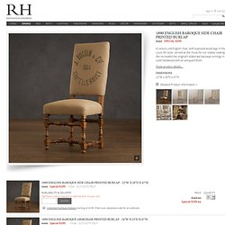 1890 English Baroque Side Chair Printed Burlap | Chairs