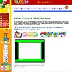 English for children,ESL Kids Lessons - School Stationery school bag , pencil, ruler, pen,