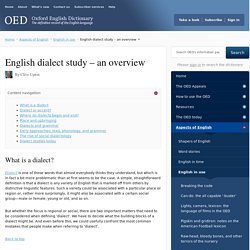 English dialect study - an overview