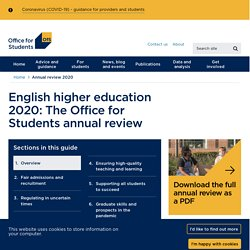 English higher education 2020: The Office for Students annual review - Office for Students