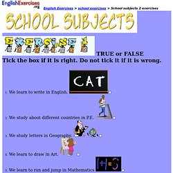 School subjects 2 exercises