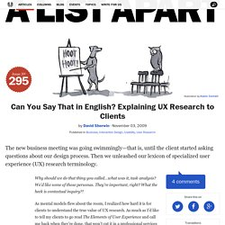 Can You Say That in English? Explaining UX Research to Clients