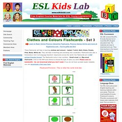 English for Kids,ESL Kids Flashcards Clothes and Colours Flashcards