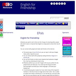 English for Friendship - Pen Pals - E-Friends for English learners