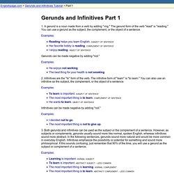 Gerunds and Infinitives Part 1