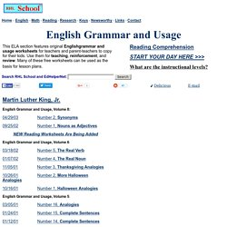 English Grammar and Usage - Free Worksheets