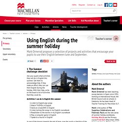 Using English during the summer holiday : Primary - Macmillan ELT