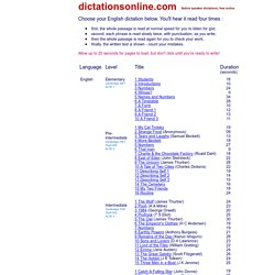 Graded English language dictations free online