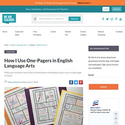 How I Use One-Pagers in English Language Arts (With Examples!)