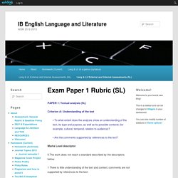 IB English Language and Literature » Exam Paper 1 Rubric (SL)