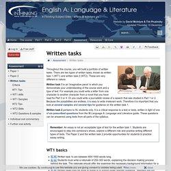 IB English A: Language & Literature: Written tasks