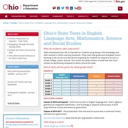 Ohio's State Tests in English Language Arts, Mathematics, Science and Social Studies