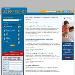 High School Lesson Plans for English and Language Arts Subjects