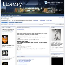 Julius Caesar - Year 10 English - Library at Brisbane Grammar School