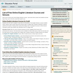 List of Free Online English Literature Courses and Schools