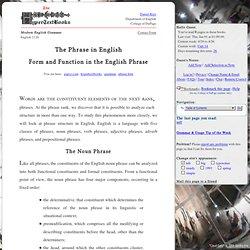English 2126: Modern English Grammar: The Phrase