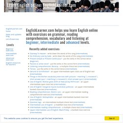Learn English online with EnglishLearner.com' free English lessons and tests