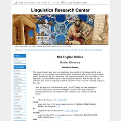 Old English Online: Master Glossary