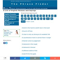 A list of 1,800 English Phrases and Sayings - all explained
